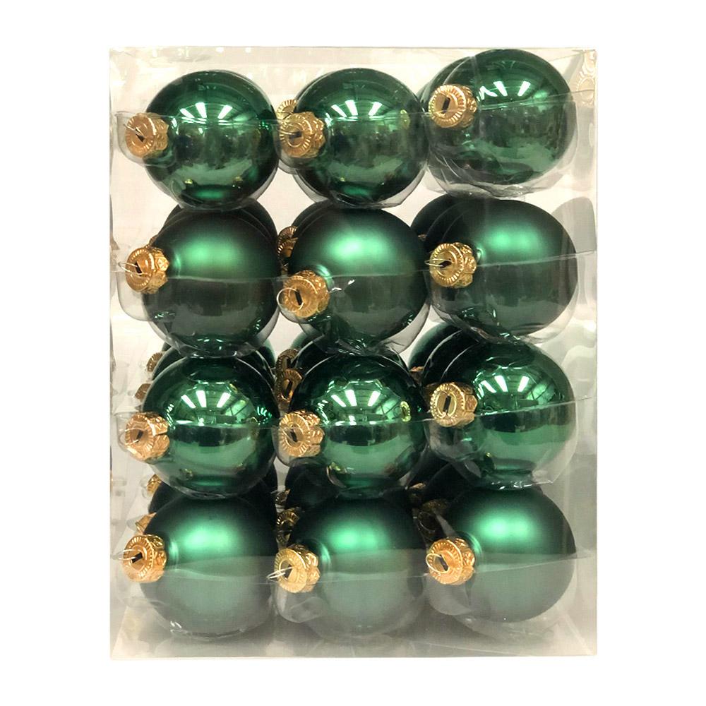 Lake Green Matt & Shiny Glass Baubles - 36 x 57mm