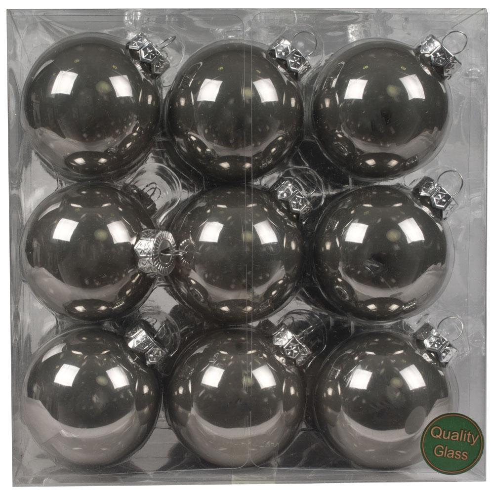 Slate Grey Matt & Shiny Glass Baubles - 36 x 57mm