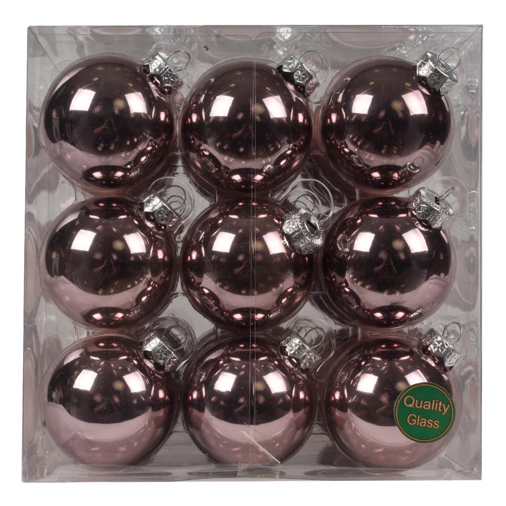 Smokey Rose Matt & Shiny Glass Baubles - 36 x 57mm