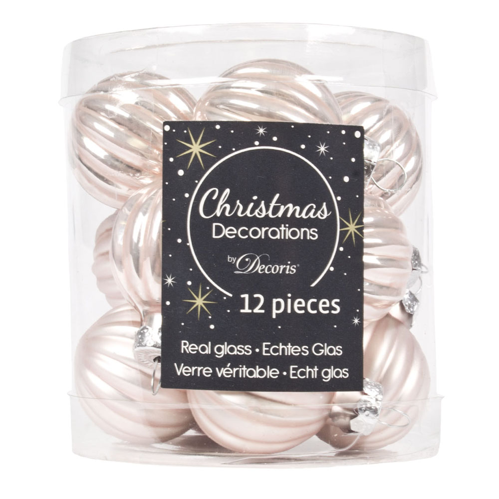 Blush Pink Ribbed Glass Baubles - 12 x 3cm