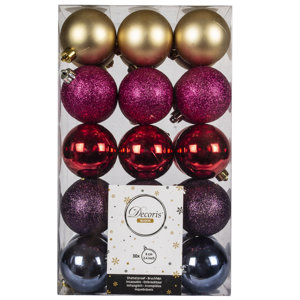 Gold, Pink, Red, Purple & Blue Assorted Shatterproof Baubles - 30 x 60mm