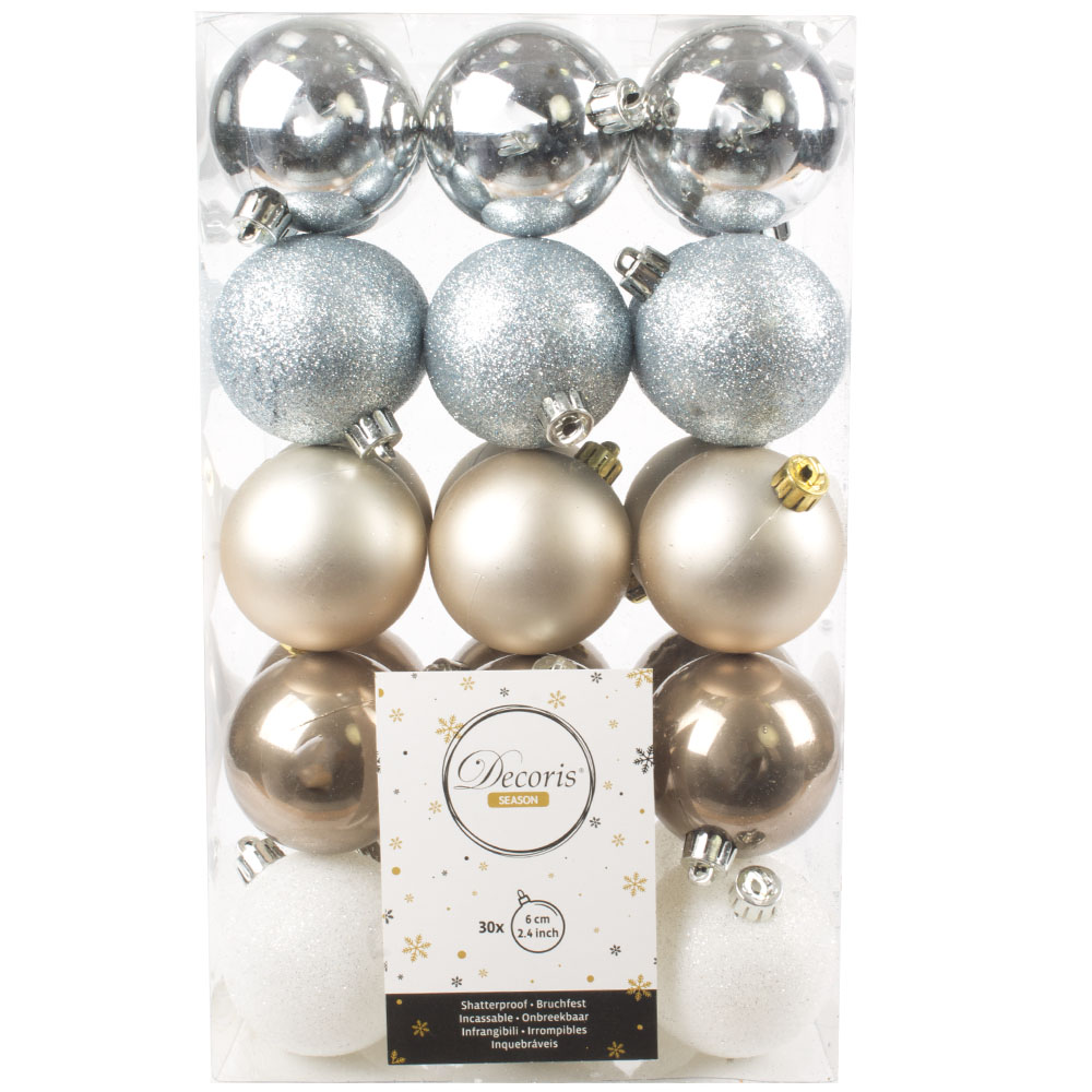 Silver, Light Blue, Pearl, Pale Brown & White Assorted Shatterproof Baubles - 30 x 60mm