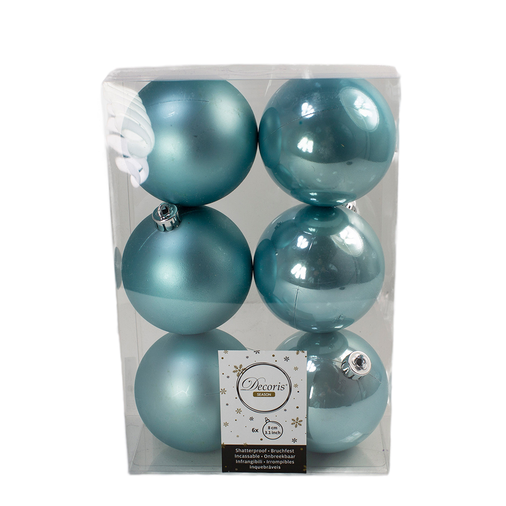 Arctic Blue Fashion Trend Shatterproof Baubles - Pack Of 6 x 80mm