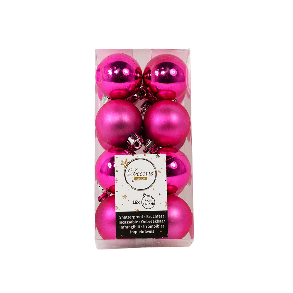 Bubblegum Pink Fashion Trend Shatterproof Baubles - Pack Of 16 x 40mm