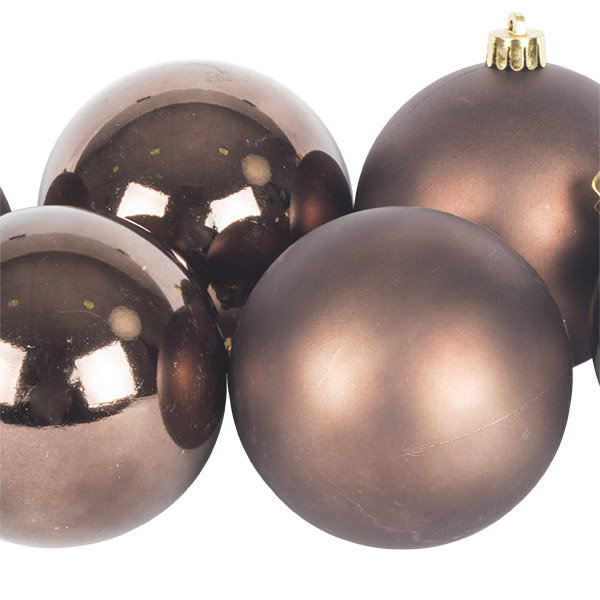 Brown Fashion Trend Shatterproof Baubles - Pack Of 6 x 80mm