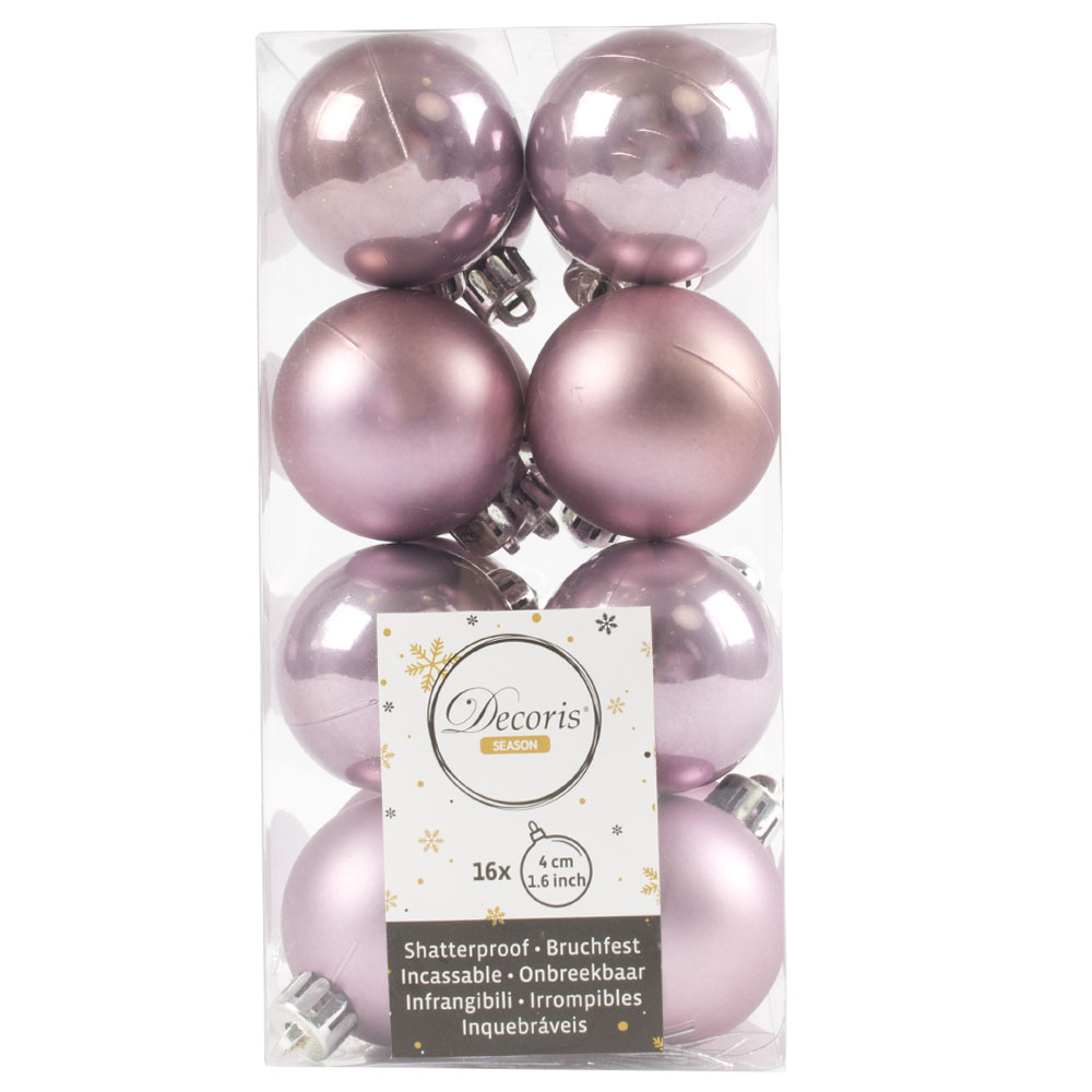 Cloudy Lilac Fashion Trend Shatterproof Baubles - Pack Of 16 x 40mm