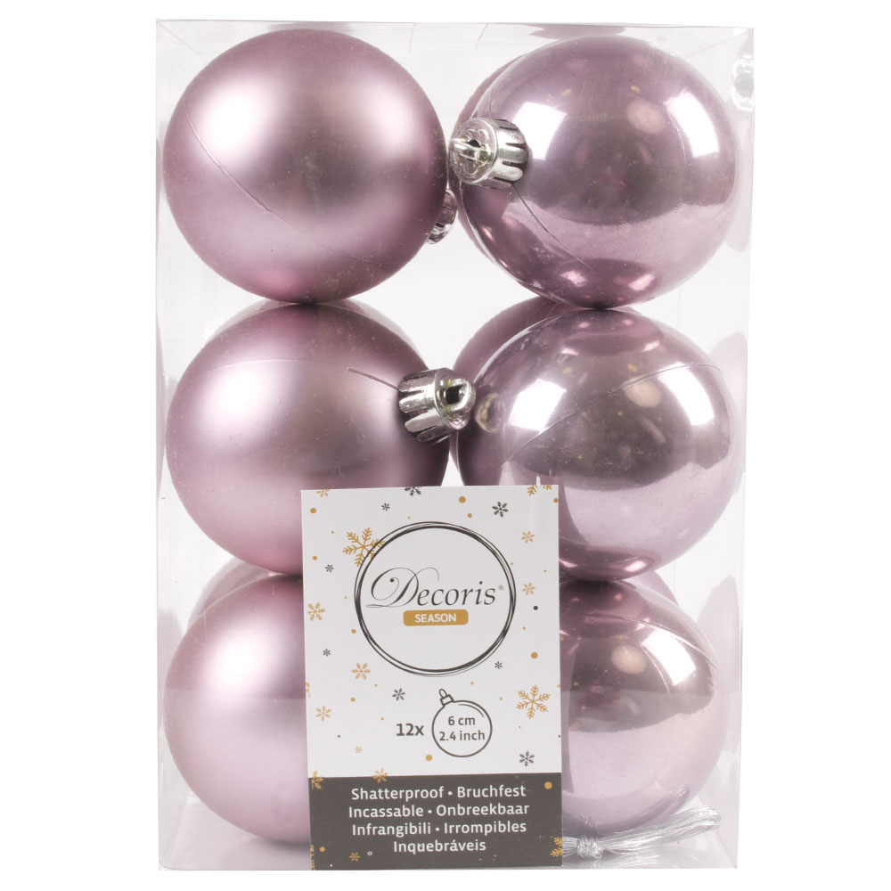 Cloudy Lilac Fashion Trend Shatterproof Baubles - Pack Of 12 x 60mm
