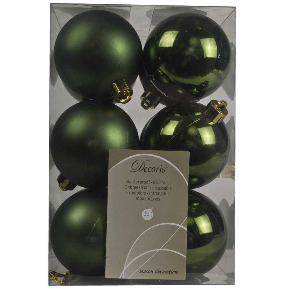 Dark Green Fashion Trend Shatterproof Baubles - Pack Of 12 x 60mm
