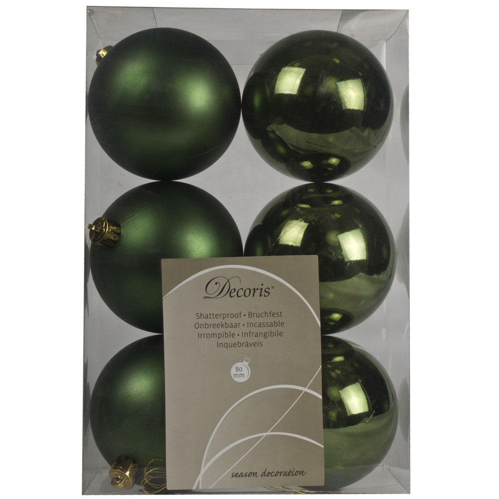 Dark Green Fashion Trend Shatterproof Baubles - Pack Of 6 x 80mm