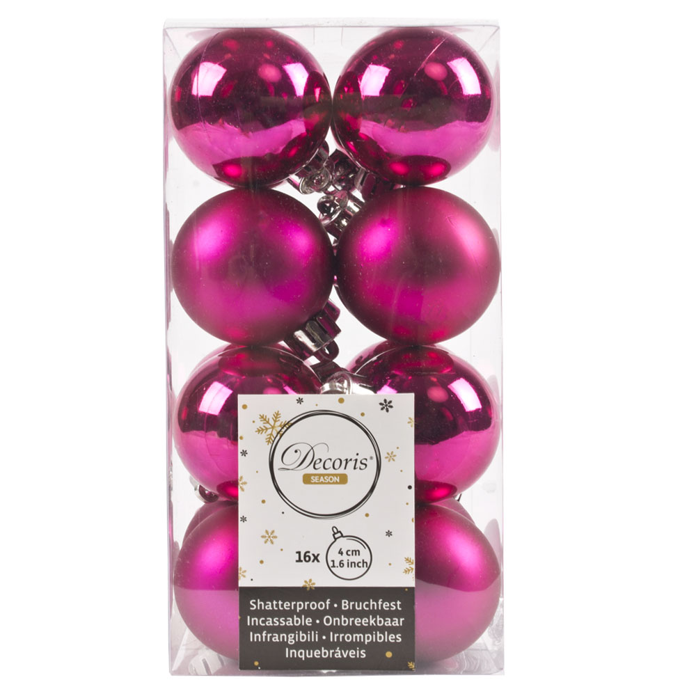 Fuchsia Fashion Trend Shatterproof Baubles - Pack Of 16 x 40mm