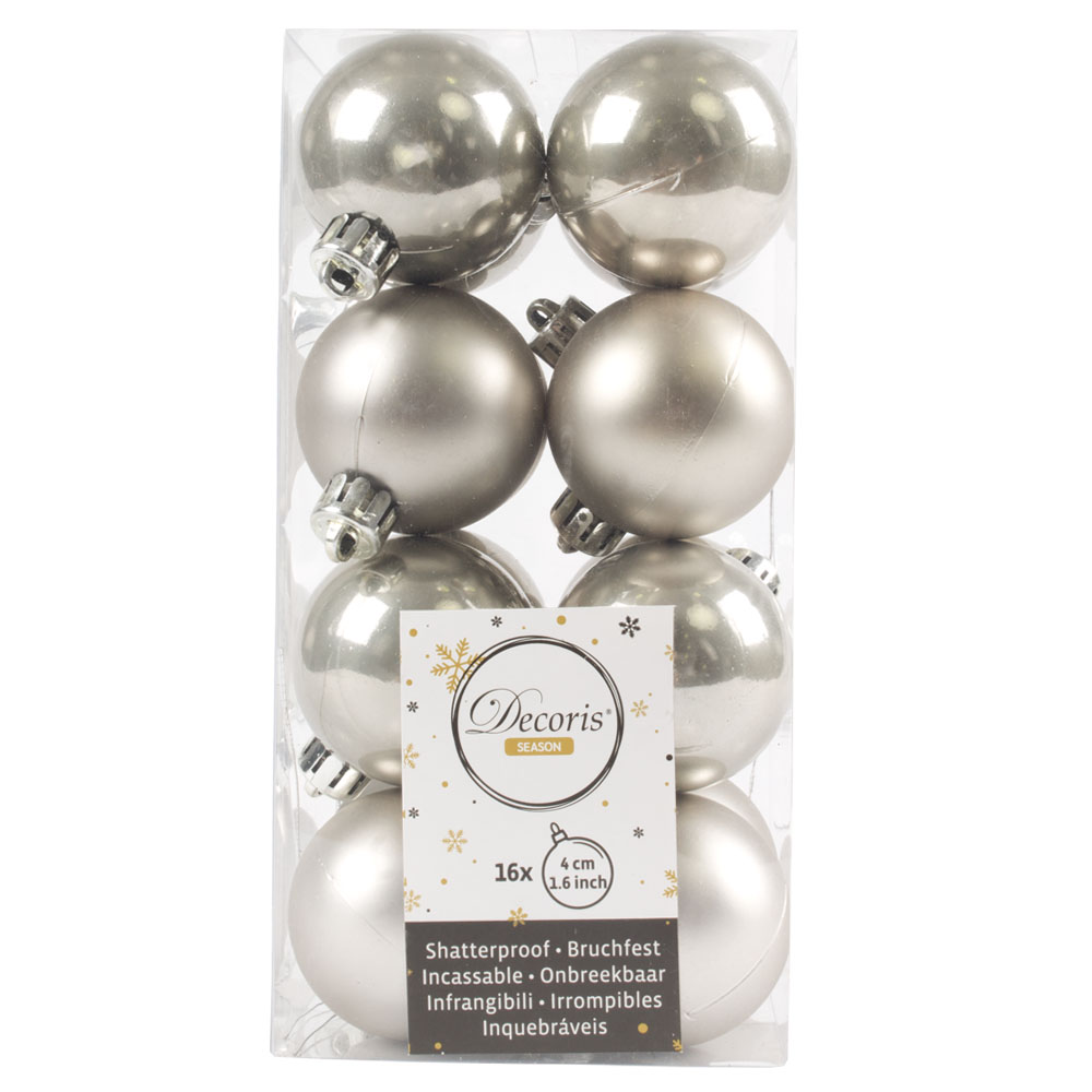 Dove Grey Fashion Trend Shatterproof Baubles - Pack Of 16 x 40mm