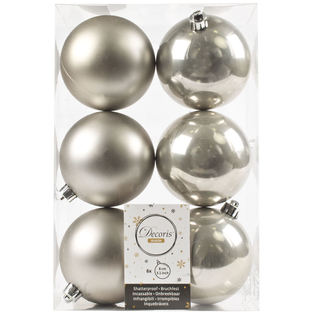 Dove Grey Fashion Trend Shatterproof Baubles - Pack Of 6 x 80mm