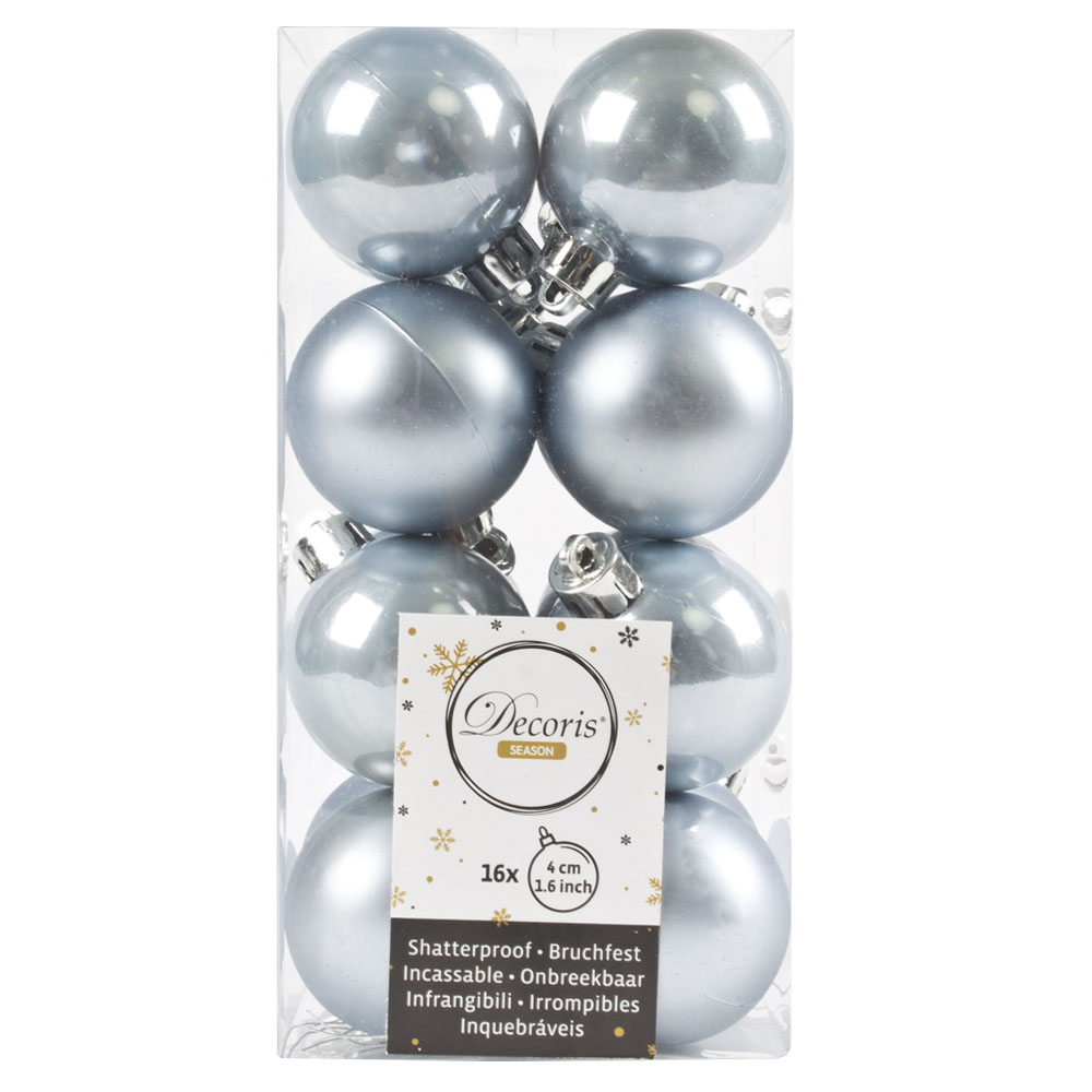 Ice Blue Fashion Trend Shatterproof Baubles - Pack Of 16 x 40mm