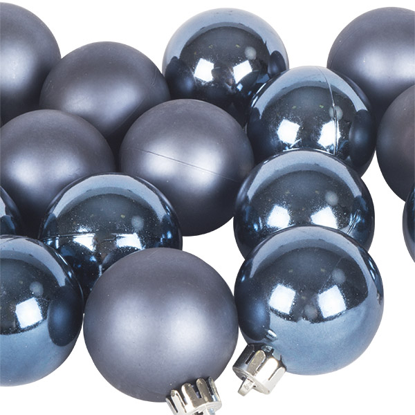 Night Blue Fashion Trend Shatterproof Baubles - Pack of 16 x 40mm