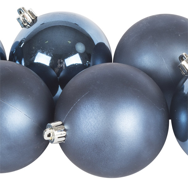 Night Blue Fashion Trend Shatterproof Baubles - Pack Of 6 x 80mm