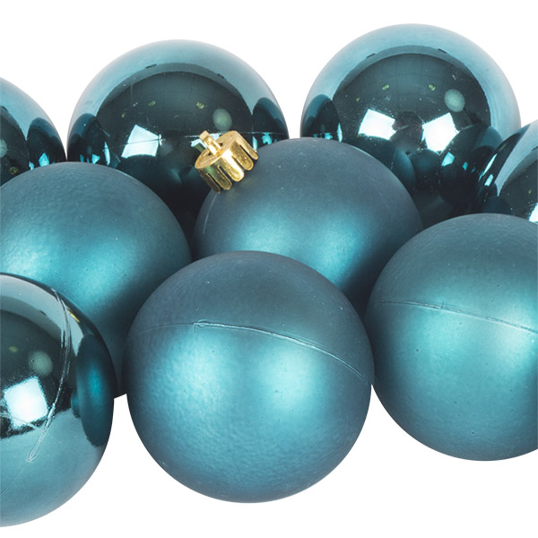 Petrol Blue Fashion Trend Shatterproof Baubles - Pack Of 12 x 60mm
