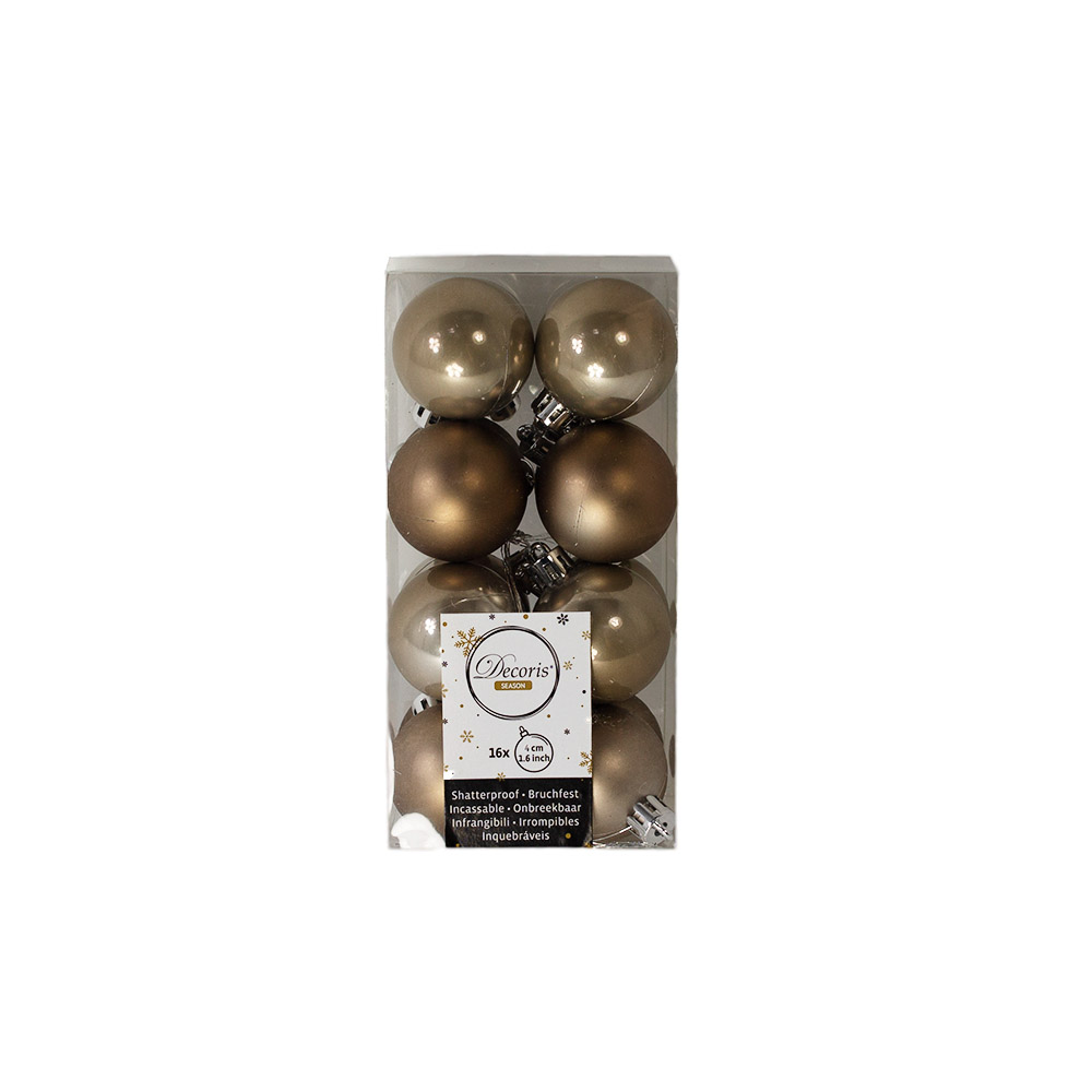 Pale Brown Fashion Trend Shatterproof Baubles - Pack Of 16 x 40mm