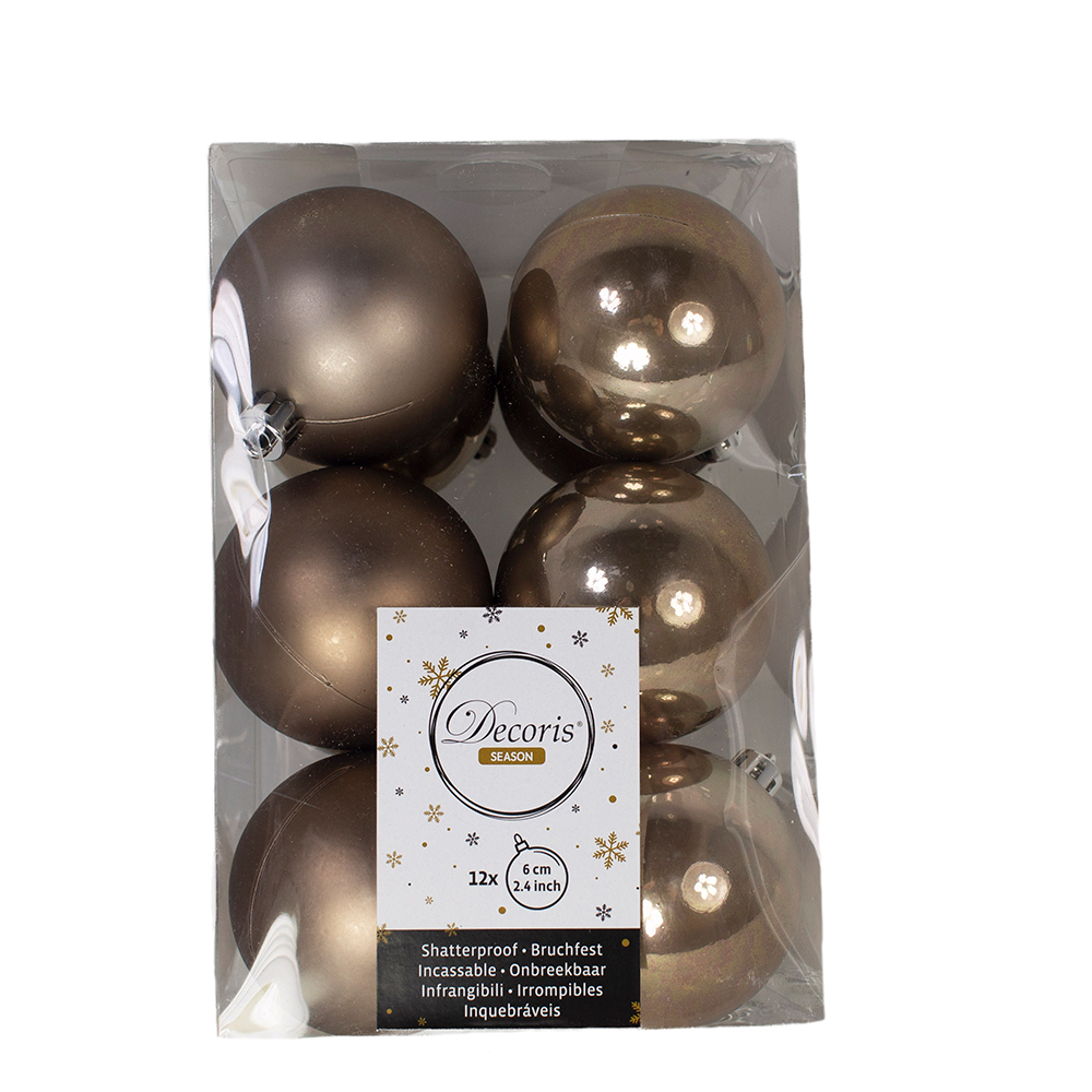Pale Brown Fashion Trend Shatterproof Baubles - Pack Of 12 x 60mm