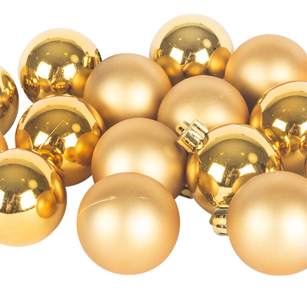 Rich Gold Fashion Trend Shatterproof Baubles - Pack of 16 x 40mm