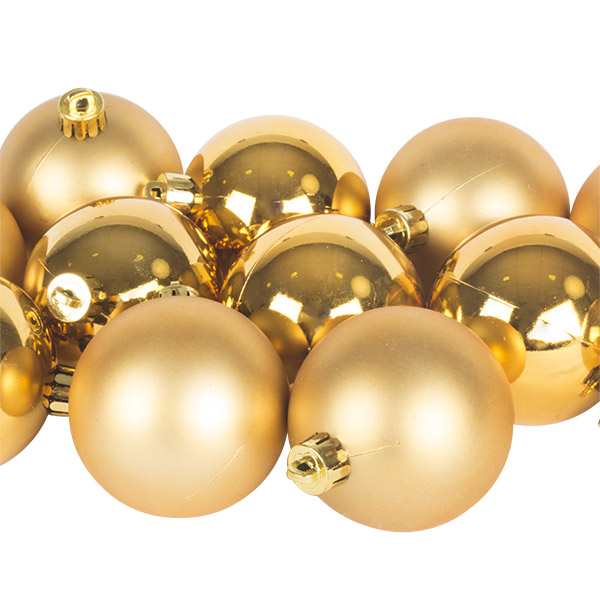 Rich Gold Fashion Trend Shatterproof Baubles - Pack Of 12 x 60mm