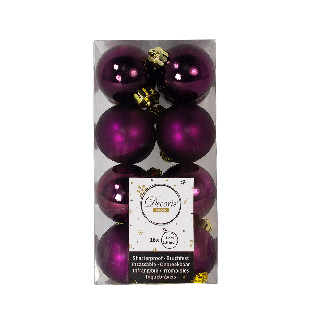 Royal Purple Fashion Trend Shatterproof Baubles - Pack Of 16 x 40mm