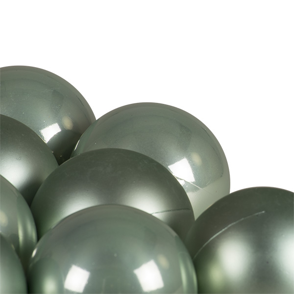 Pale Sage Green Fashion Trend Shatterproof Baubles - Pack Of 12 x 60mm