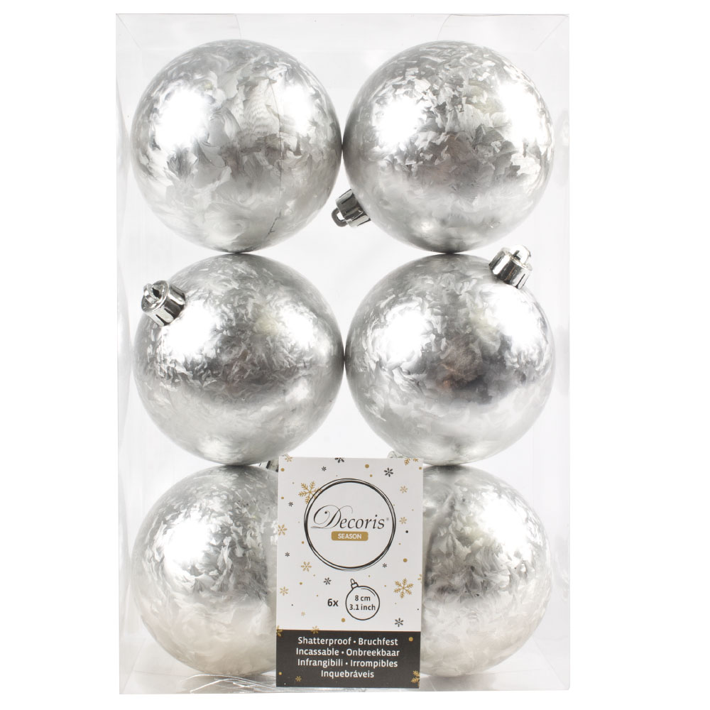 Silver Ice Lacquer Fashion Trend Shatterproof Baubles - Pack of 6 x 80mm