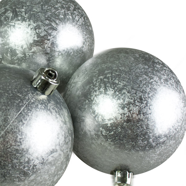 Silver Ice Lacquer Fashion Trend Shatterproof Baubles - Pack Of 4 x 100mm