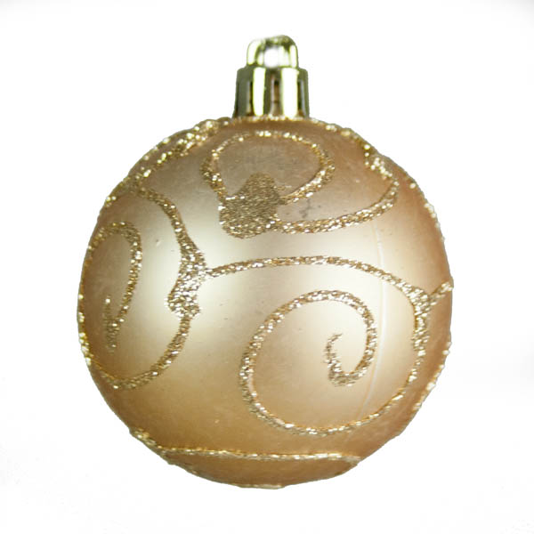 Champagne Gold Mixed Finish Shatterproof Baubles - 24 X 60mm
