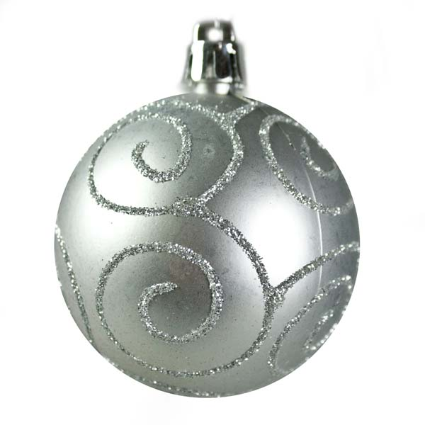 Silver Mixed Finish Shatterproof Baubles - 24 X 60mm