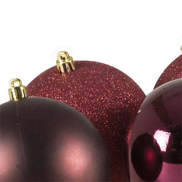 Mixed Finish Burgundy Shatterproof Baubles - 4 X 100mm (021-28849-BU)