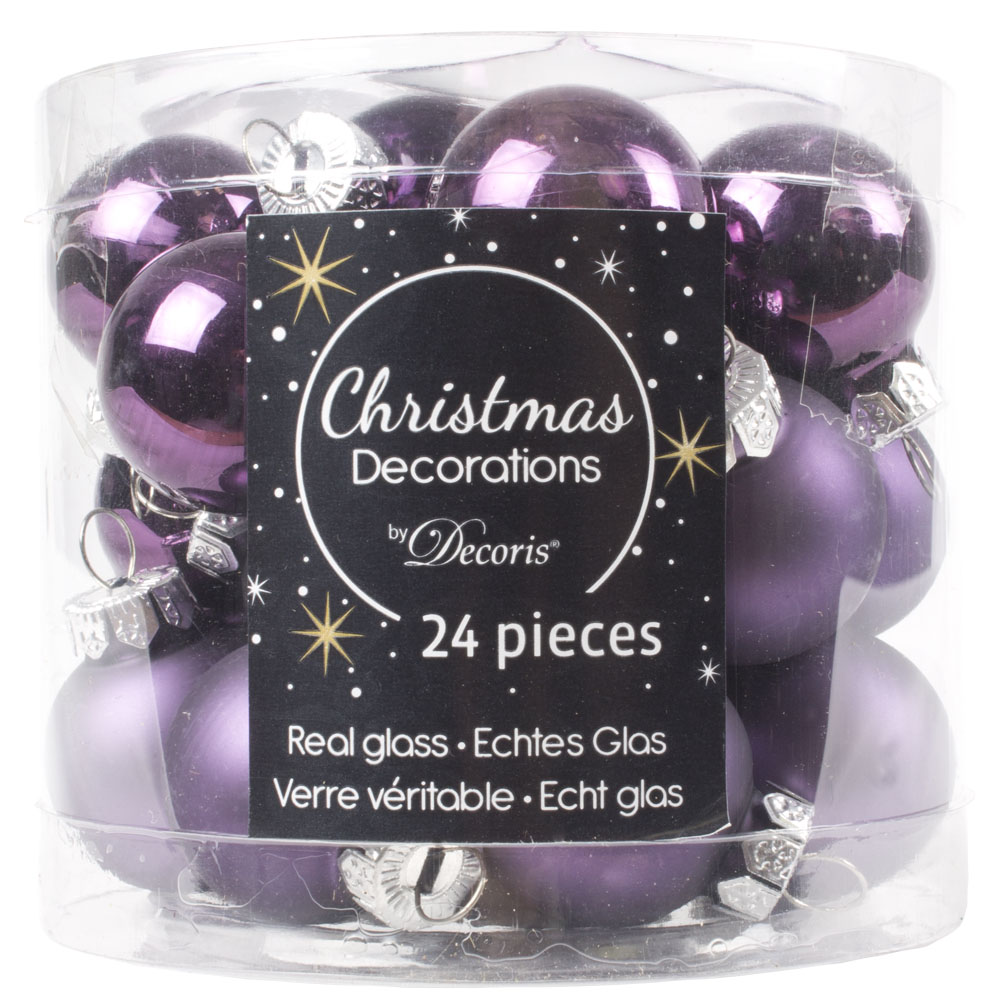 Deep Lavender Matt & Shiny Glass Baubles - 24 X 25mm