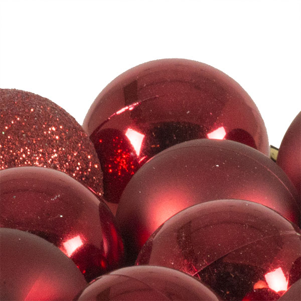 Christmas Red Mixed Finish Shatterproof Baubles - 17 X 30mm