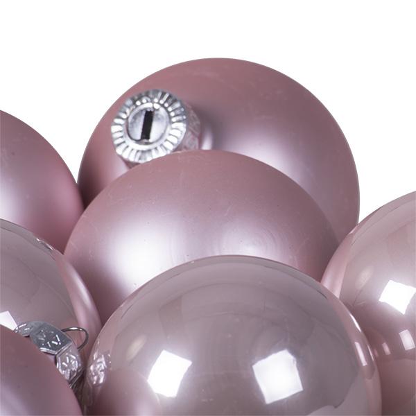Tub Of Blush Pink Shiny & Matt Glass Baubles - 10 X 60mm