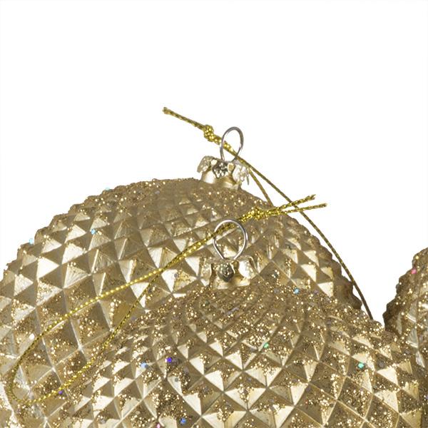 Pack Of 4 Matt Gold Facetted Shatterproof Baubles - 100mm