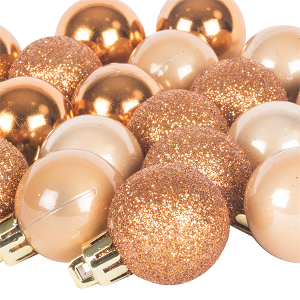 Copper Mixed Finish Shatterproof Baubles - 24 X 30mm