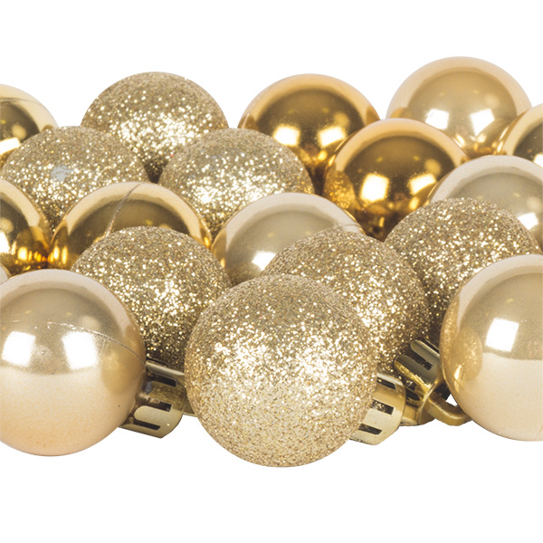 Gold Mixed Finish Shatterproof Baubles - 24 X 30mm