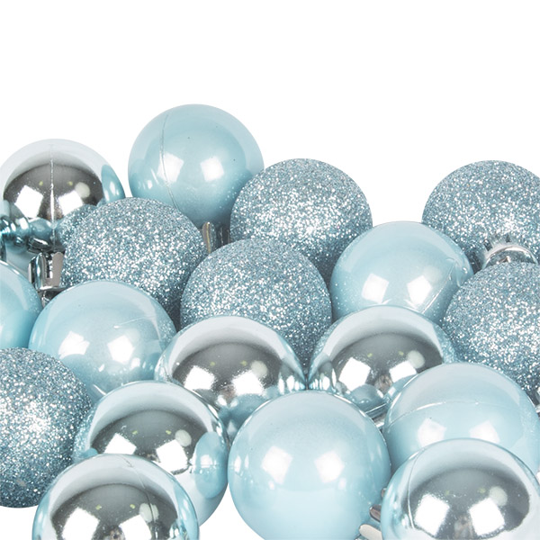 Ice Blue Mixed Finish Shatterproof Baubles - 24 X 30mm
