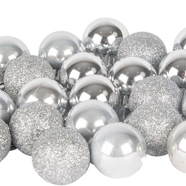 Silver Mixed Finish Shatterproof Baubles - 24 X 30mm