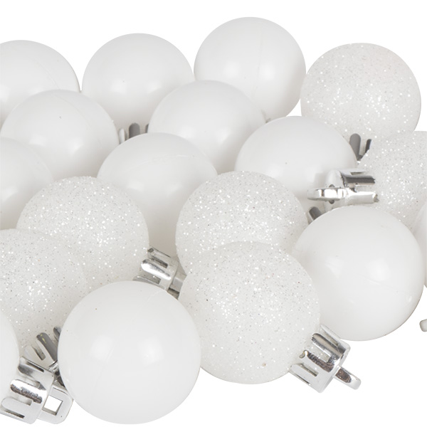 White Mixed Finish Shatterproof Baubles - 24 X 30mm