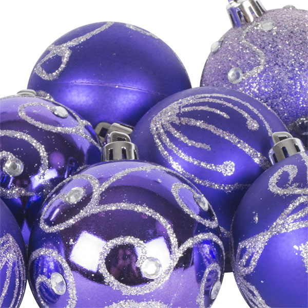 Pack Of Purple Decorated Shatterproof Baubles - 9 X 60mm