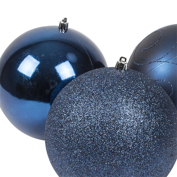 Pack Of 3 X 150mm Midnight Blue Shatterproof Baubles