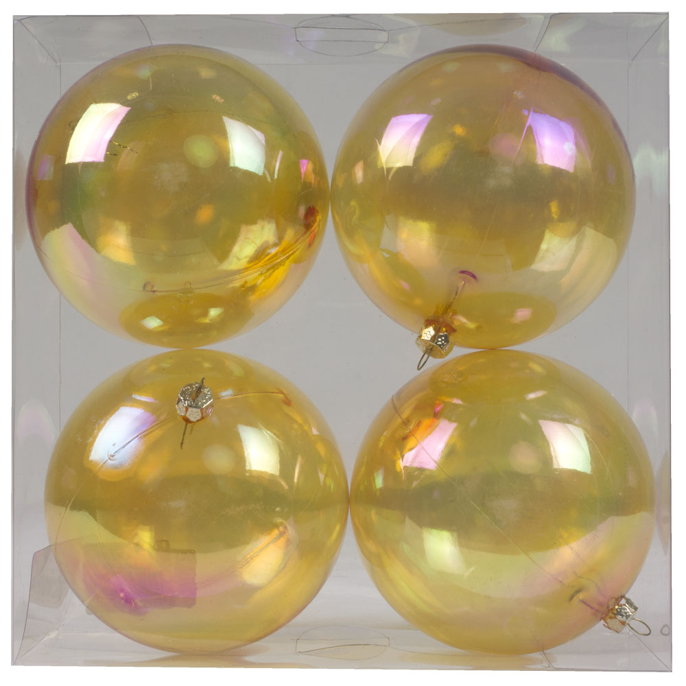 Yellow Tinted Shatterproof Baubles With Iridescent Finish - Pack Of 4 X 100mm