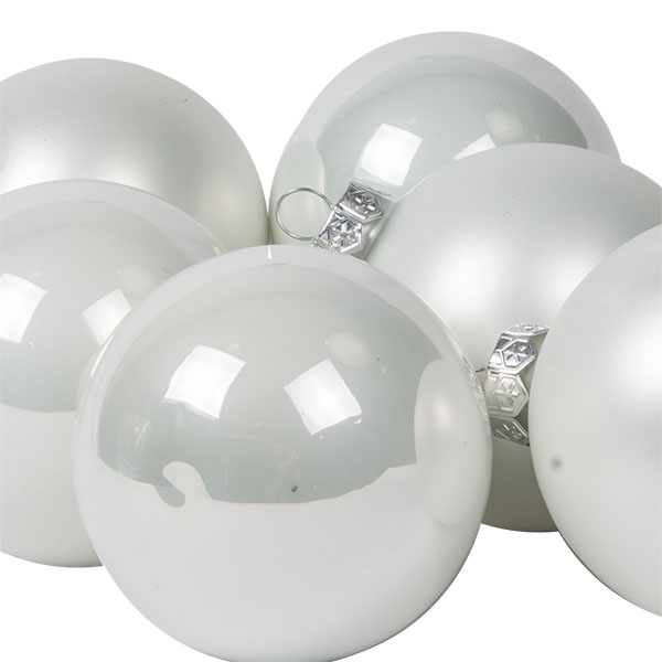 Tub Of Winter White Shiny & Matt Glass Baubles - 6 X 80mm