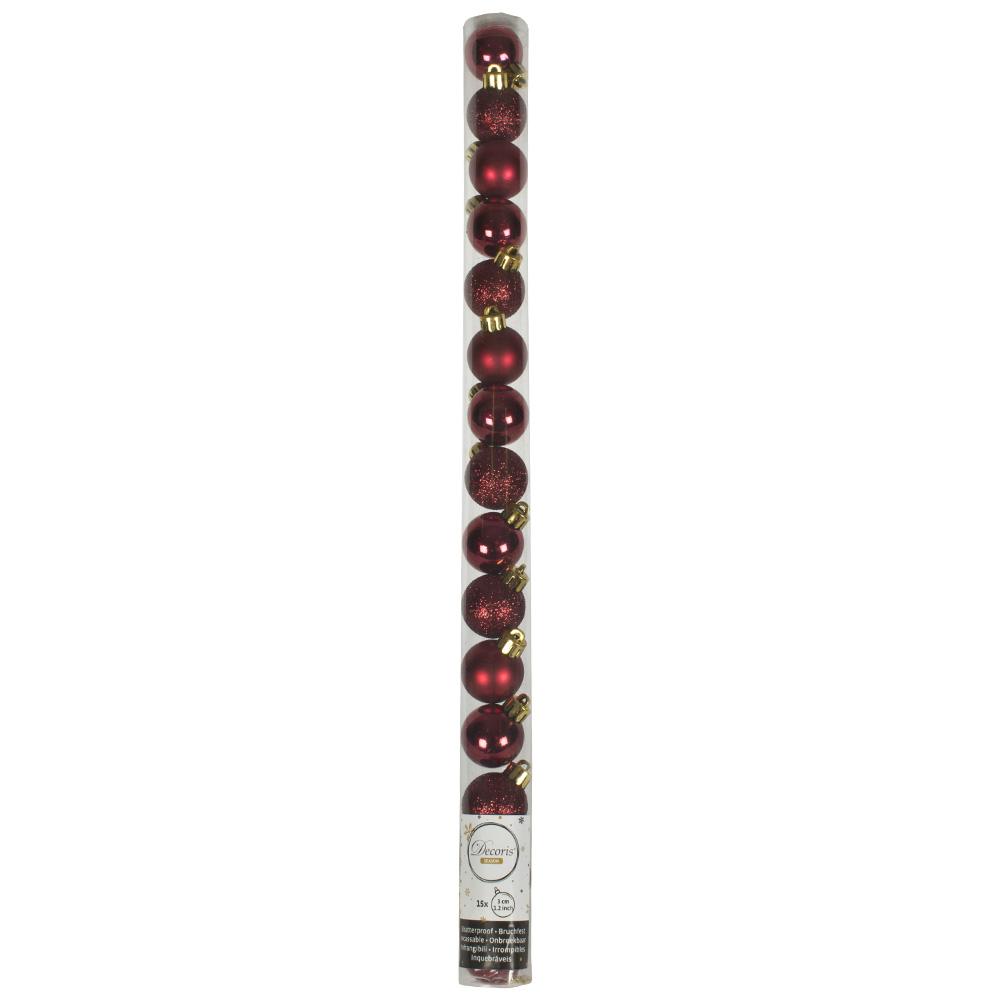 Tube Of Plain Dark Red Shatterproof Baubles - 15 X 30mm