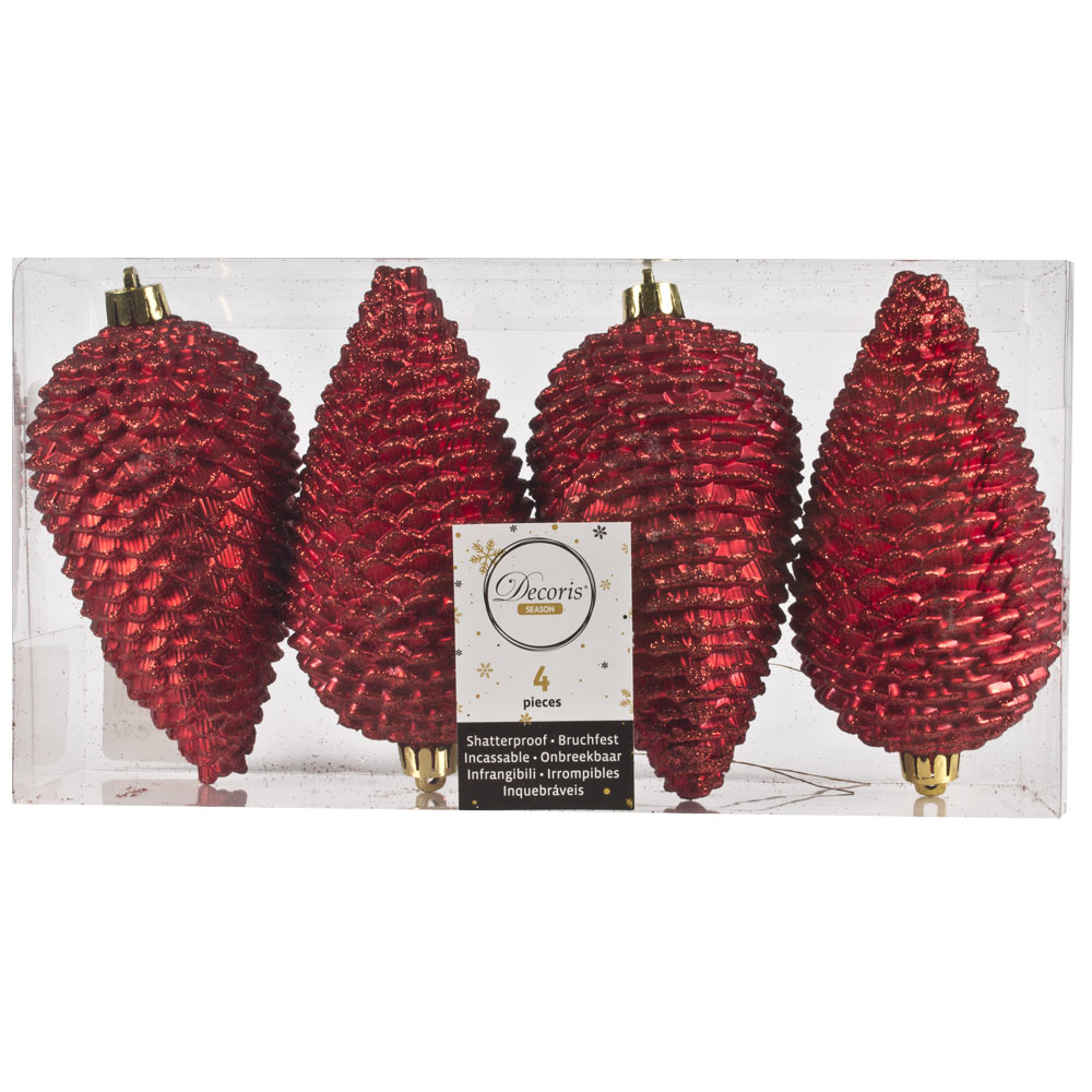 Pack Of 4 Large Christmas Red Shatterproof Pinecone Decorations - 7cm X 12cm