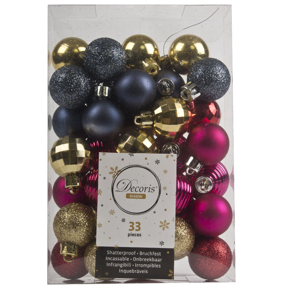 Gold, Red, Pink & Blue Assorted Shatterproof 33 Piece Decorating Pack