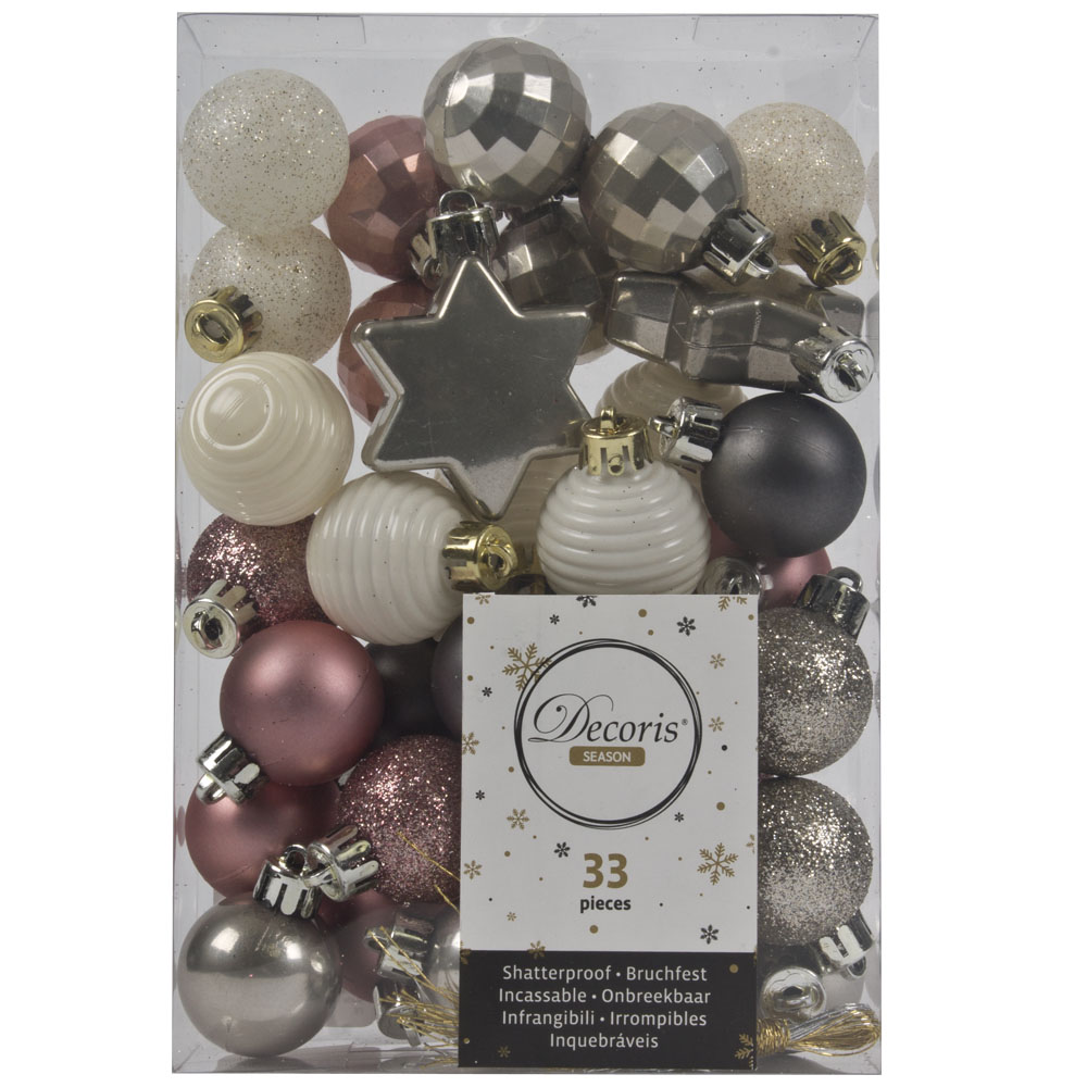 Pale Rose, Ivory & Stone Grey Assorted Shatterproof 33 Piece Decorating Pack
