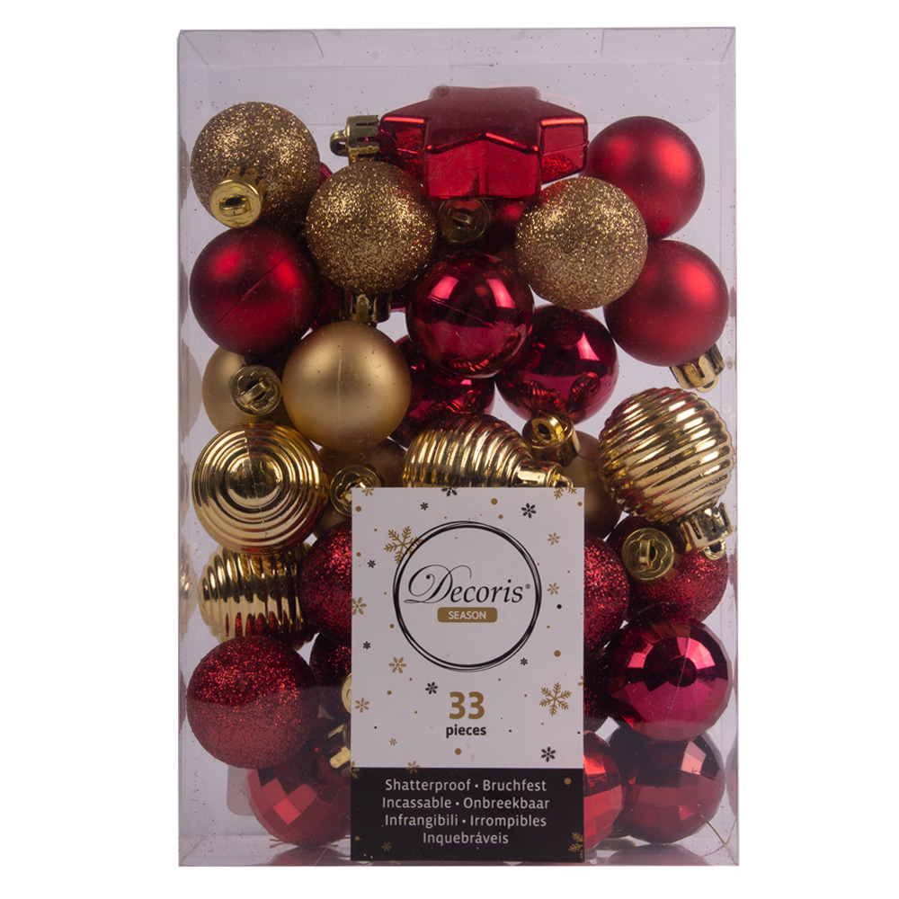 Red & Gold Assorted Shatterproof 33 Piece Decorating Pack