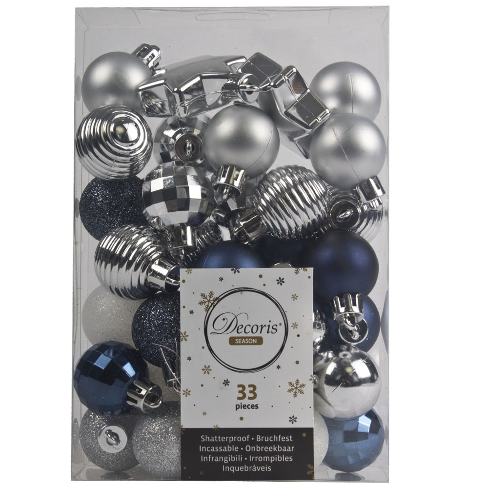 Silver, White & Blue Assorted Shatterproof 33 Piece Decorating Pack